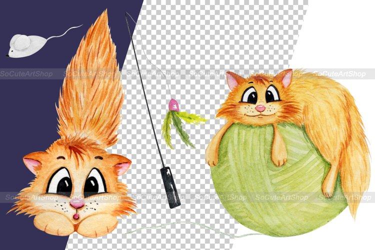 Watercolor cat clipart png, cute cat clip art, kawaii pet example 2
