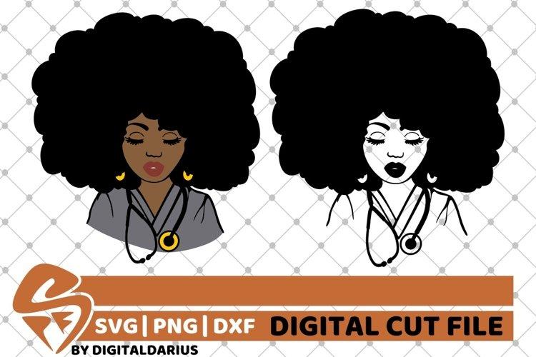 2x Black Woman Bundle svg, Nurse svg, Afro Hair svg, Surgeon example image 1