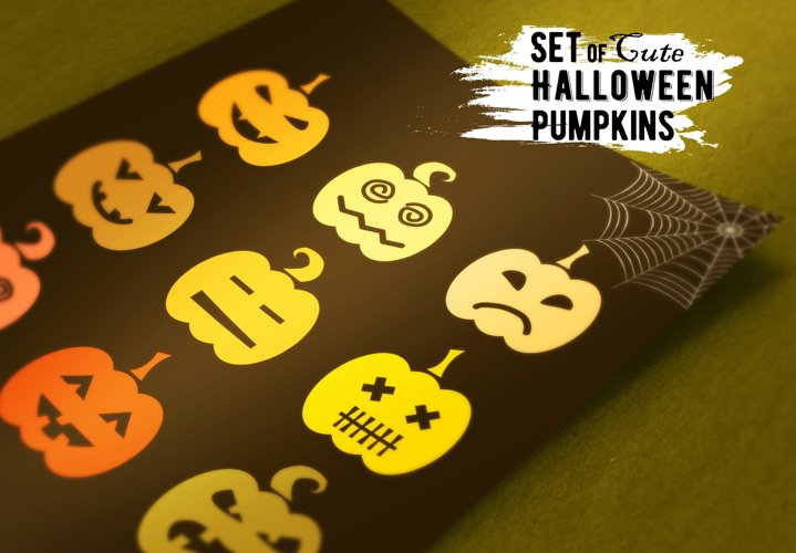Set of  Halloween Pumpkins example image 1