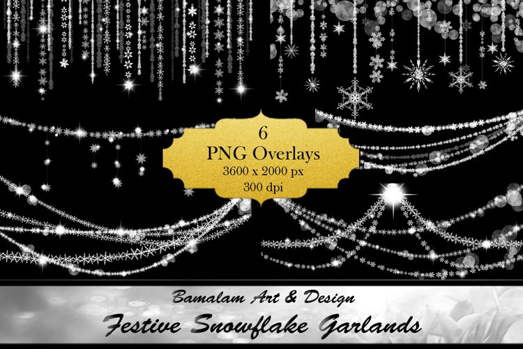 Festive Snowflake Garland Overlays example image 1