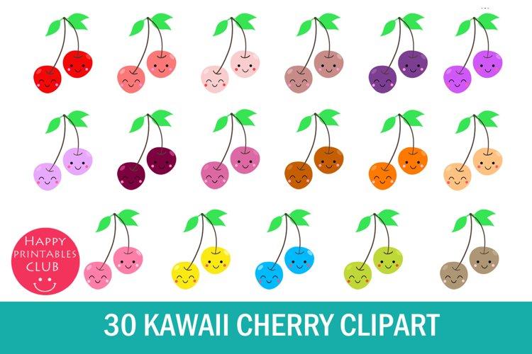 30 Kawaii Cherry Clipart- Cherry Fruit Clipart-Kawaii