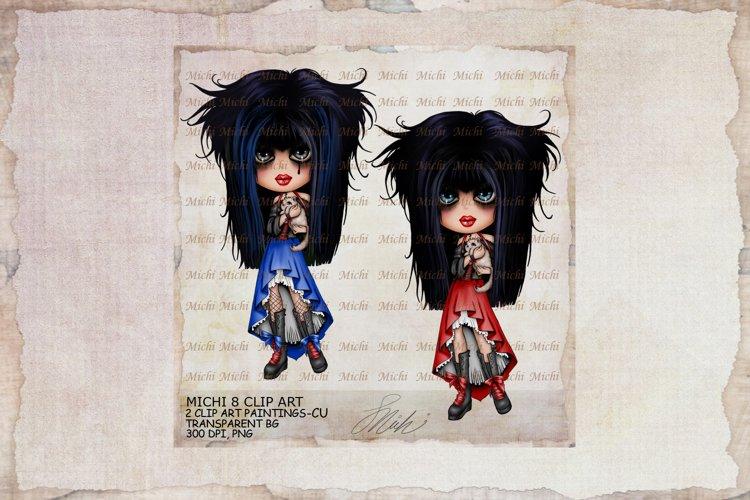 Michi 8 Cute Gothic Kitty Girl Clip Art
