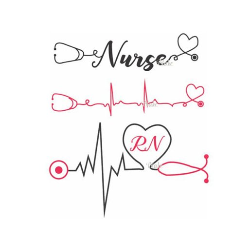 Nurse With Heartbeat And Stethoscope Svg Cut File For Silhouette Cricut Nurse Life Rn Nurse Graduation Gift Svg For T Shirt Mug Decal 91741 Svgs Design Bundles