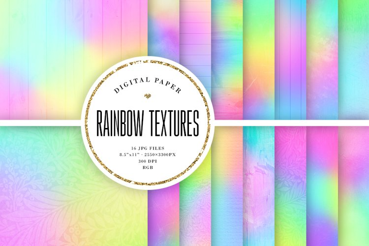 16 Pastel Rainbow Textures Scrapbook Papers example image 1