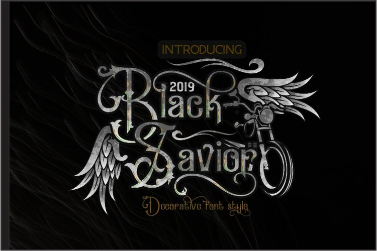 Black Savior - decorative calligraphy Display Font example image 1