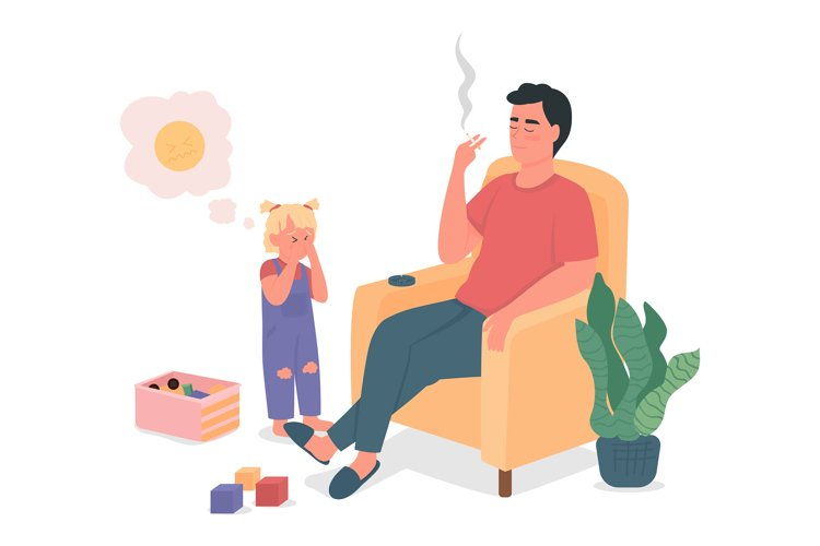 Smoking father with sad child flat color character example image 1