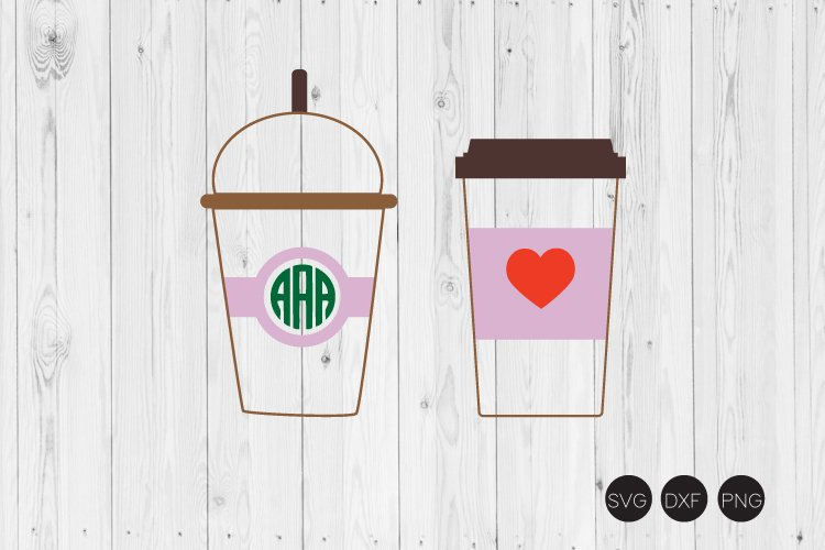 Coffee Cup Monogram SVG, Frappe Cup SVG example image 1