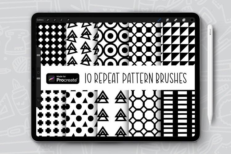 10 Geometric Patterns Repeat Pattern Procreate Brush Bundle