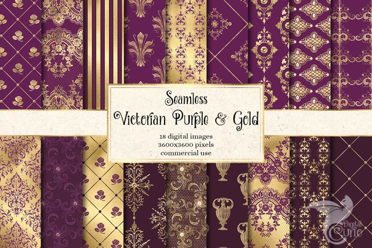 Victorian Purple and Gold Digital Paper example image 1