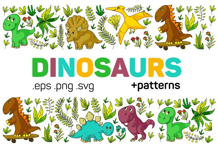 Dinosaur vector clipart. Baby animal for children. example image 1