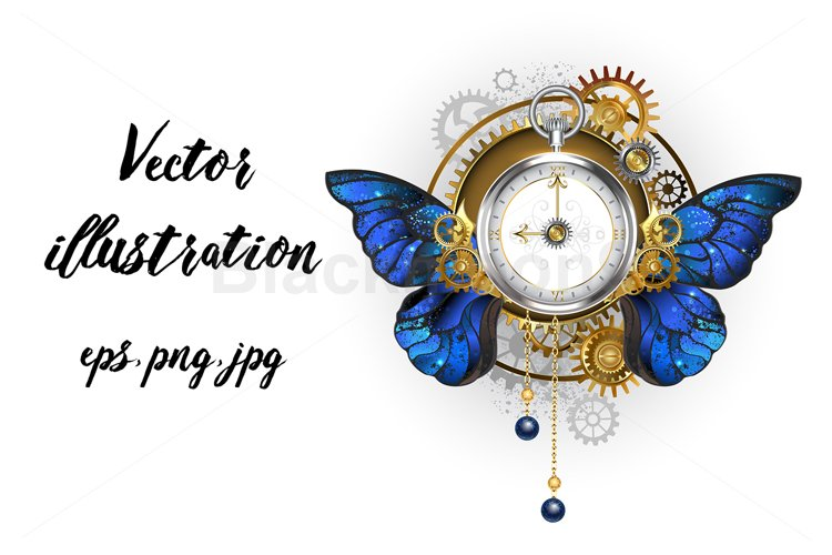 Antique Clock with Morpho Butterfly Wings Steampunk example image 1