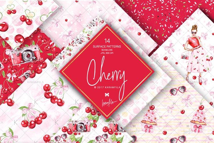 Cherry Digital Paper, Cherries Summer Patterns