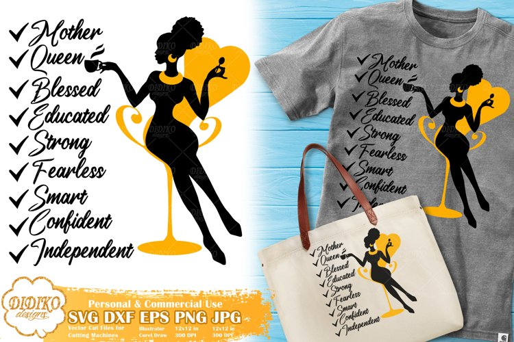 Black Woman with Words | Mothers Day SVG | Boss Lady Svg example image 1