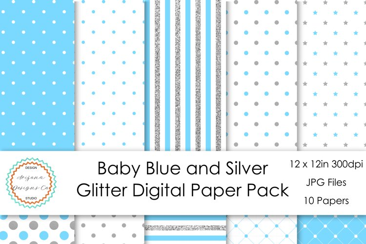 Baby Blue and Silver Glitter Digital Paper Pack example image 1