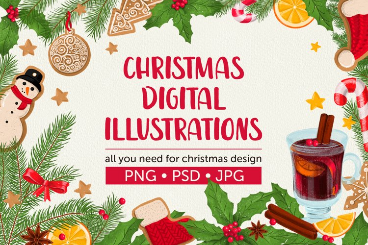 Christmas digital illustrations example image 1