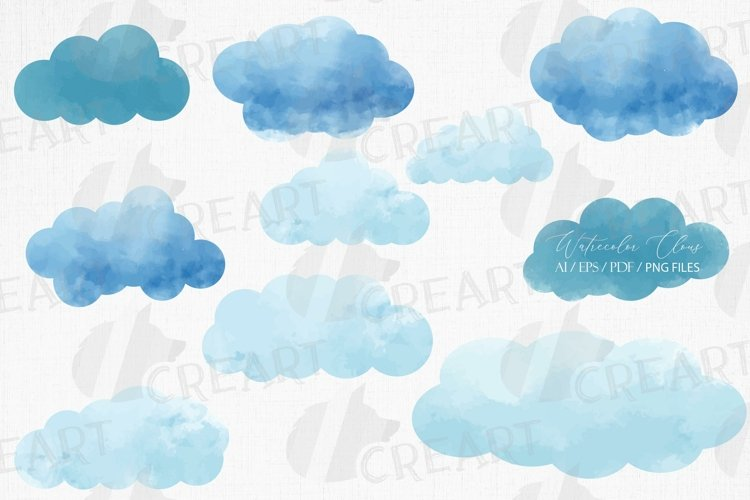 Watercolour clouds printable home wall decoration clip art.