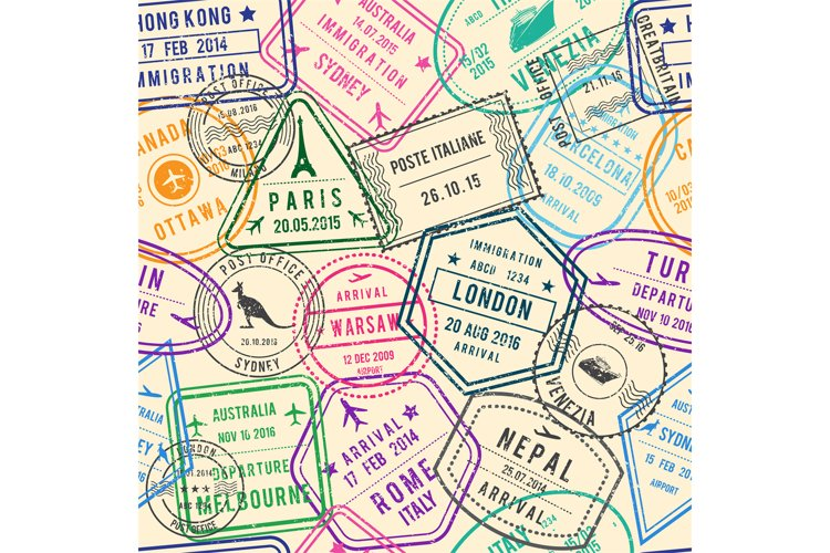 Vector seamless pattern of travel illustrations with stamps, example image 1