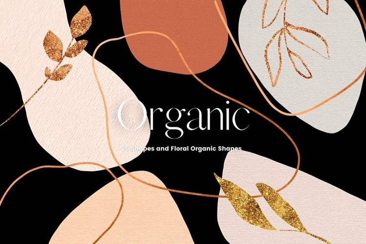 Copper and Beige Organic Abstract Shapes Clip Art