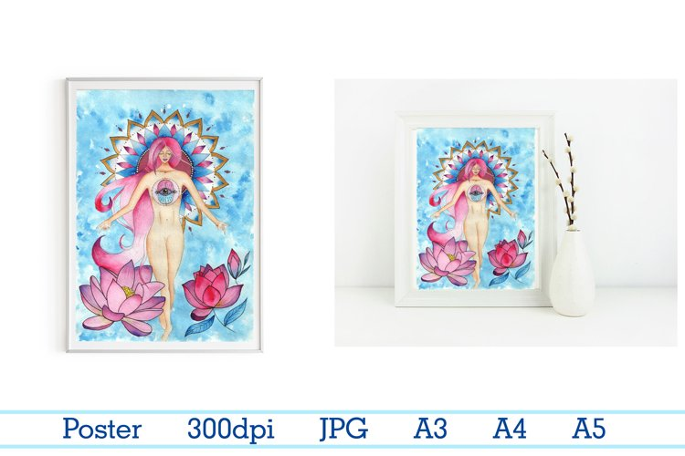 girl and lotuses, mandala, goddess of love,Digital print