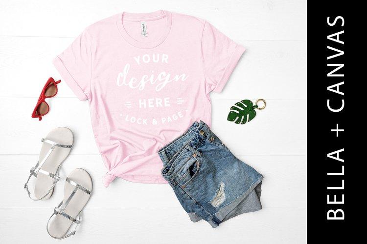 Bella Canvas T shirt Vogue Magazine,Styled Mockup,Flat Lay Image Digital Mock Up White Background JPEG image Women Pink T-shirt Mockups