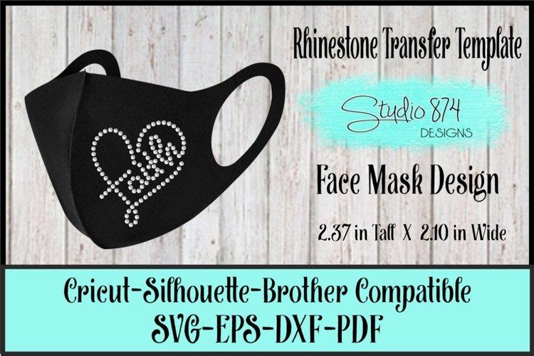 Faith Rhinestone Face Mask SVG Template - Faith Heart 2