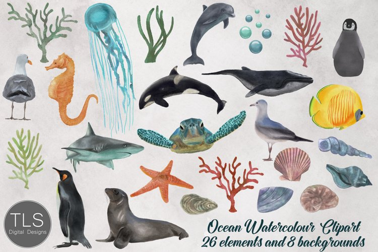 Ocean Watercolor Clipart Bundle