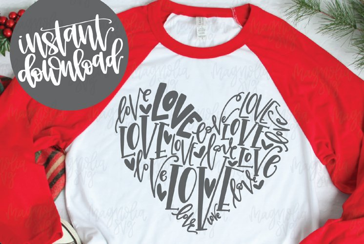 Handlettered Love Heart SVG File - SVG, DXF, EPS, PNG