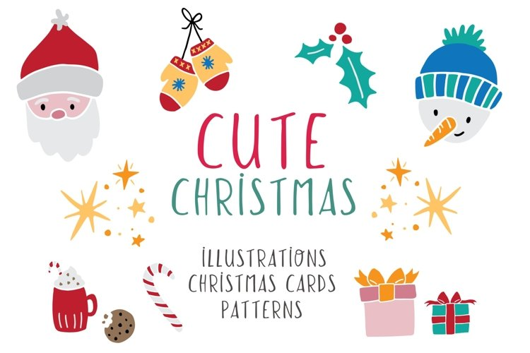 Cute Christmas illustrations, cards   patterns