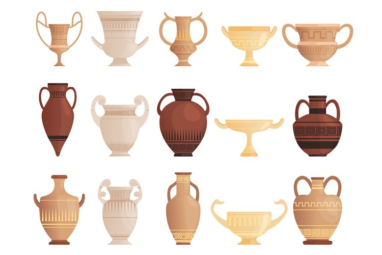 Old ancient vessel. Clay jug cups and amphoras with patterns