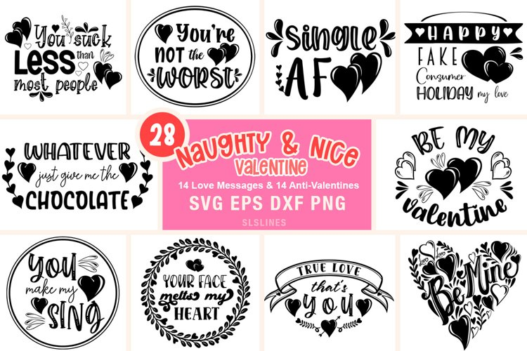 Naughty & Nice Valentine SVG Bundle