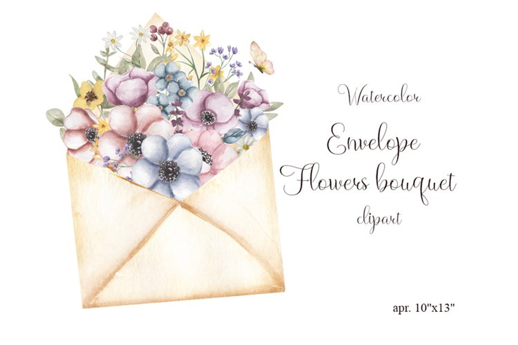 Watercolor flowers bouquet and envelope clipart example image 1