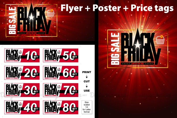 Vector Black Friday Flyer Poster Price Tag DIY
