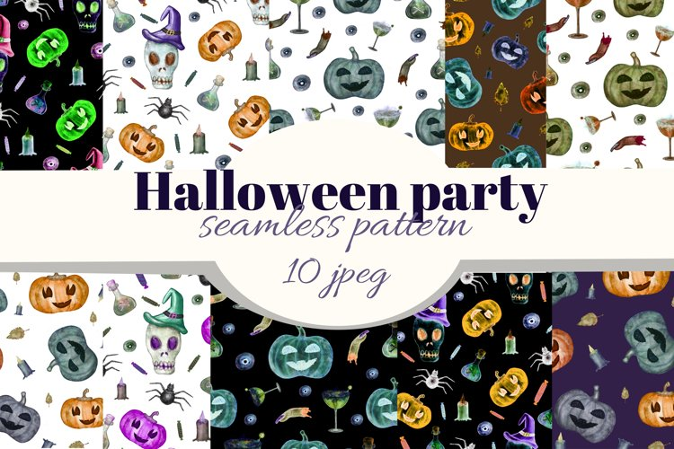 Halloween party seamless pattern. Watercolor Happy Halloween example image 1