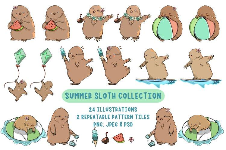 Summer Sloth Graphics Bundle
