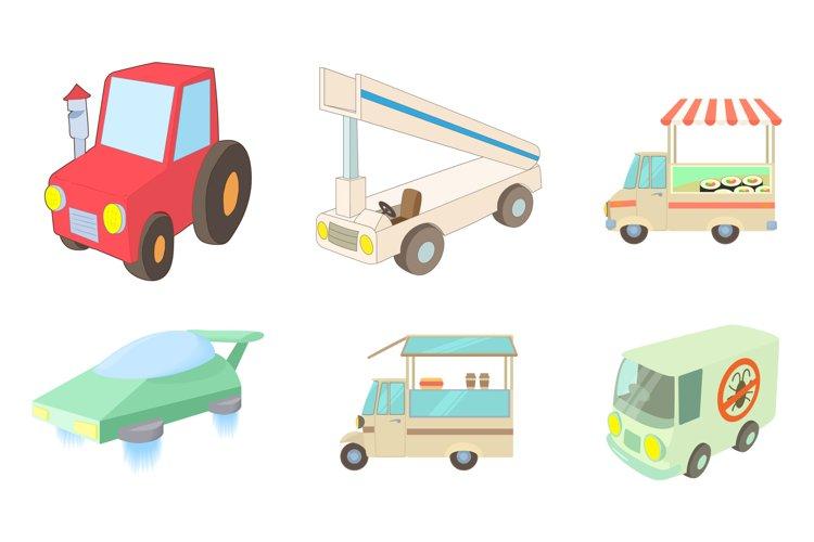 Special vehicle icon set, cartoon style example image 1