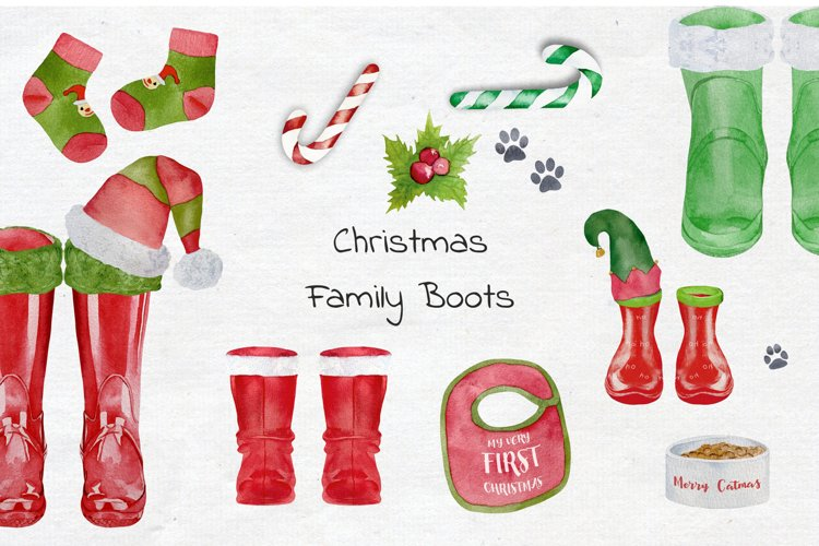 Watercolor Christmas Rubber Boots example image 1