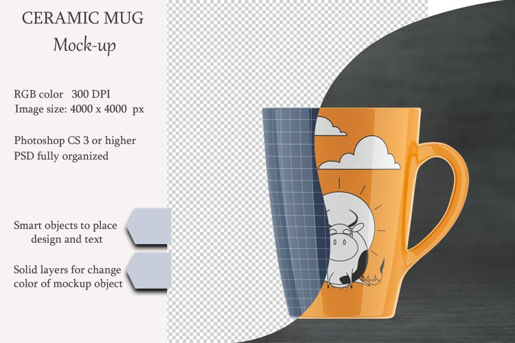 Ceramic mug mockup. Product place. PSD object mockup. example image 1