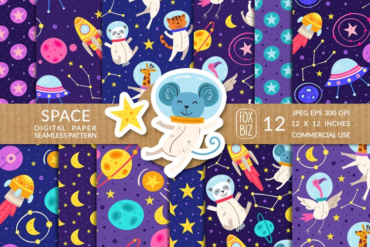 Space, animals astronauts seamless patterns. JPEG EPS example image 1