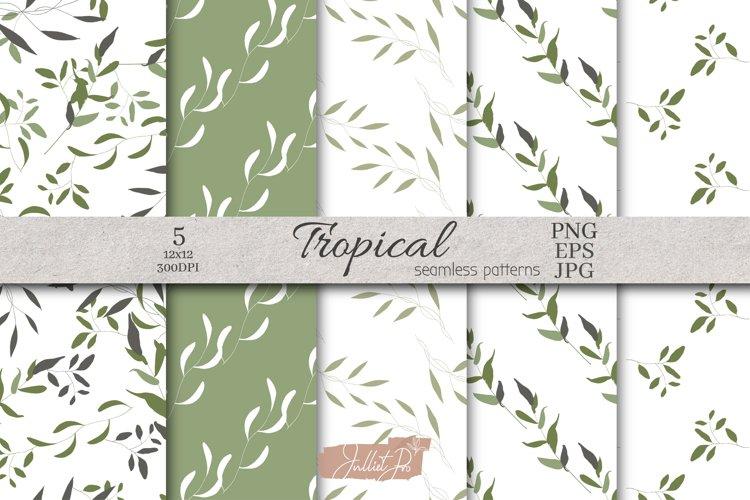 Botanical Seamless Pattern, Spring Leaves