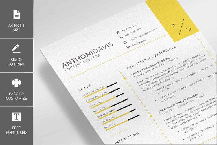 Anthony Davis Modern Resume and Cover Letter