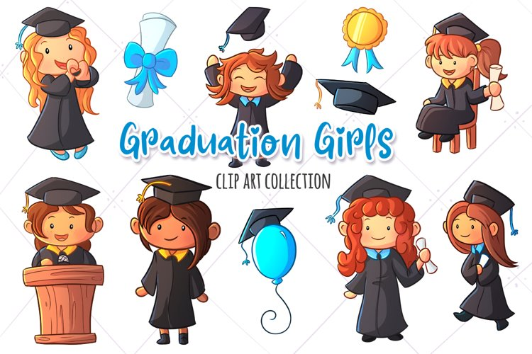 Graduation Girls Clip Art Collection example image 1