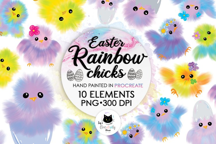 Easter Rainbow Chicks | Animal Sublimation Bundle for Easter example image 1