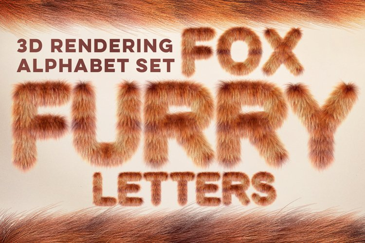 3D Fox Furry Letters Pack example image 1