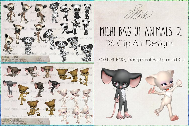 Michi Bag Of Animals 2, Clip Art, Sublimation example image 1