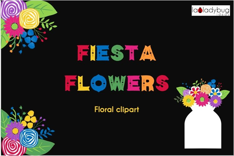 Fiesta flowers clipart set. Fiesta floral clip art. PNG example image 1