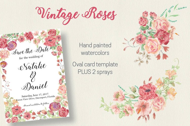 Vintage roses: oval card template plus 2 sprays