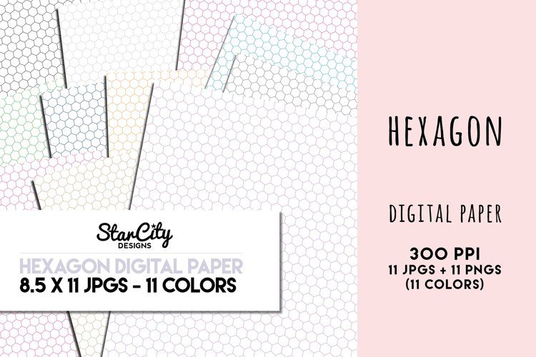 Hexagon Digital Paper, 8.5 x 11 PNG and JPG, 11 colors