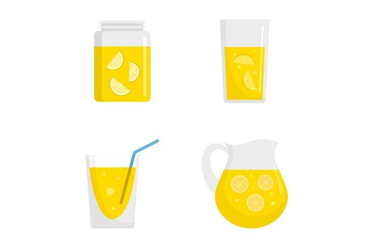 Lemonade icon set, flat style example image 1