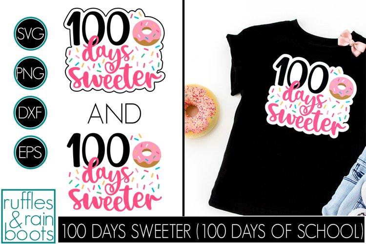 100 Days Sweeter SVG - Cute Donut School Design for Kids