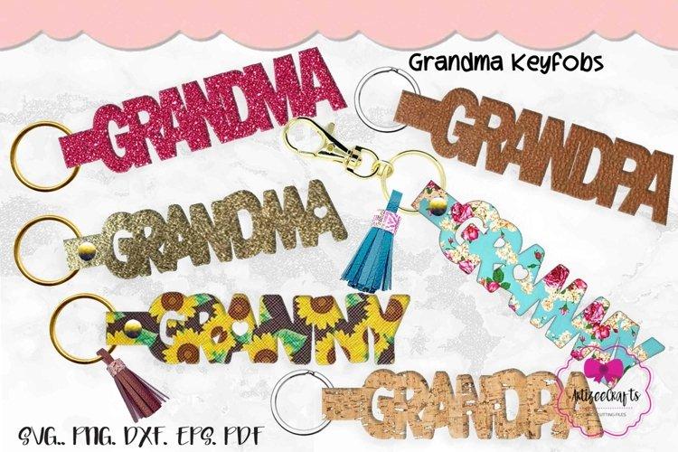 Grandma Key Fob, Grandpa Fob SVG, Granny Leather Key Fob example image 1
